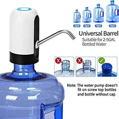 PUDHOMS 5 Gallon Water Dispenser USB Charging Water Pump for 5 Gallon Bottle Universal Fit Water Bottle Pump Portable Electric Water Jug Dispenser Drinking Water Dispenser 5 Gallon for 2 3 5 Gallon