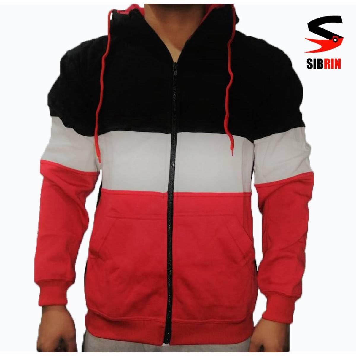 SIBRIN New Stylish Winter Fleece Zipper HOODIE for Men RED & BLACK