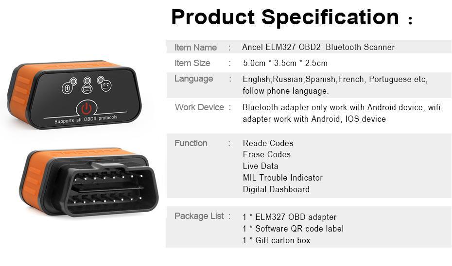 iCar2 OBD-II ELM327 v1 5 Bluetooth Scanner