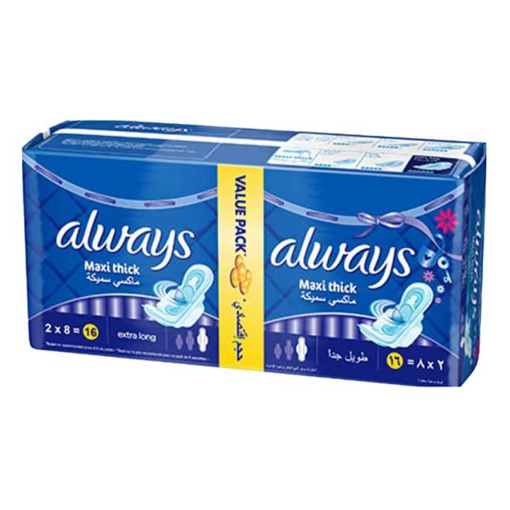 Always Pads Maxi Thick Extra Long 16Pc Pack