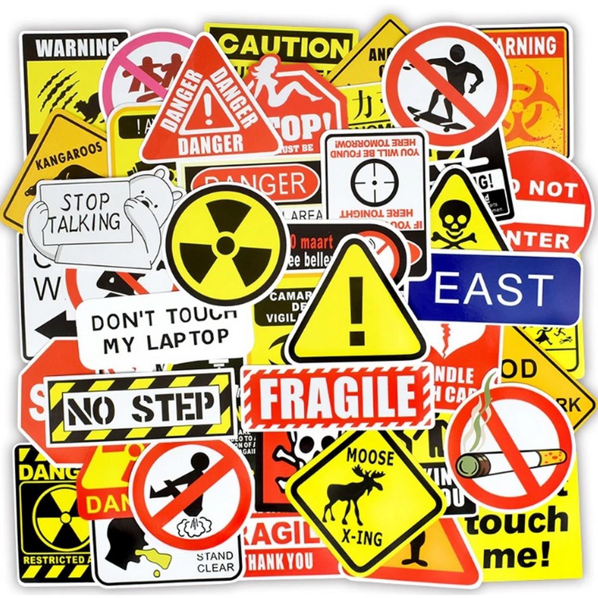 10 Pcs/Pack Warning Danger Banning Signs Waterproof Stickers for Car,Laptop,Bike,Skateboard