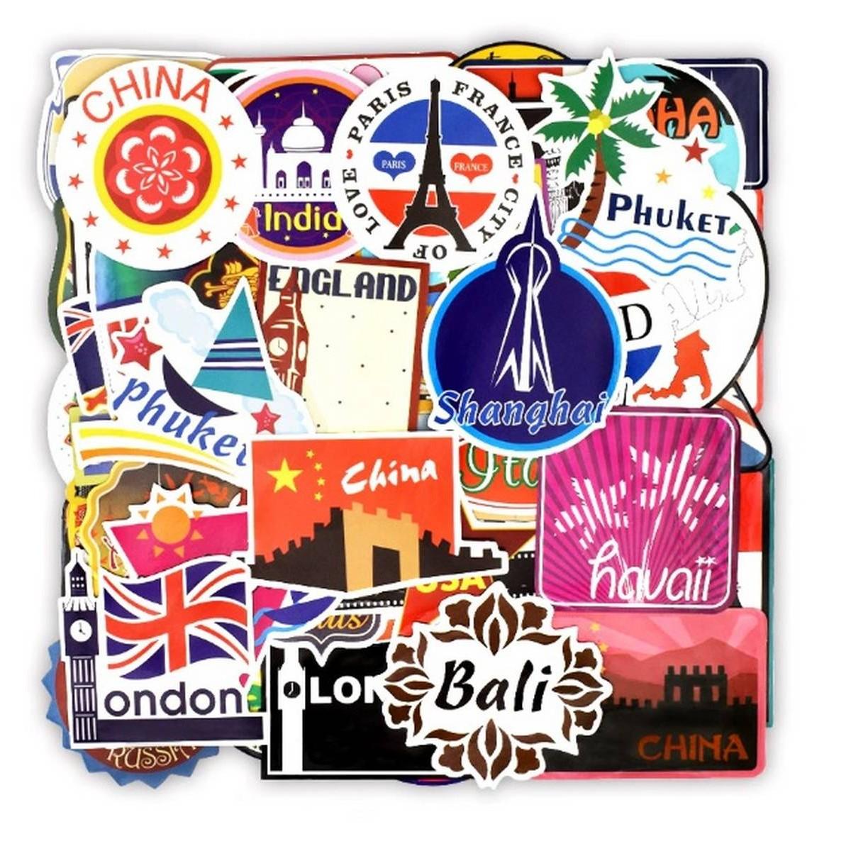 10 Pcs/Pack Retro Traveling World Cities Historical Places Graffiti Waterproof Stickers for Laptop Mobile Cover Guitar Bike Car Fridge Skateboard PC AC TV Helmet Mac