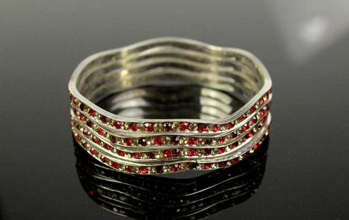 Pack Of 4 – Fancy Silver Bangles With Red Color Stones