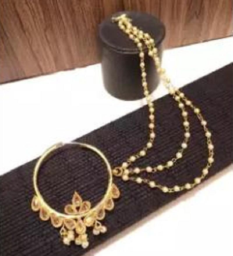 Gold Nose To Ear Chain Bridal Ring Indian Polki Nose Ring Nath
