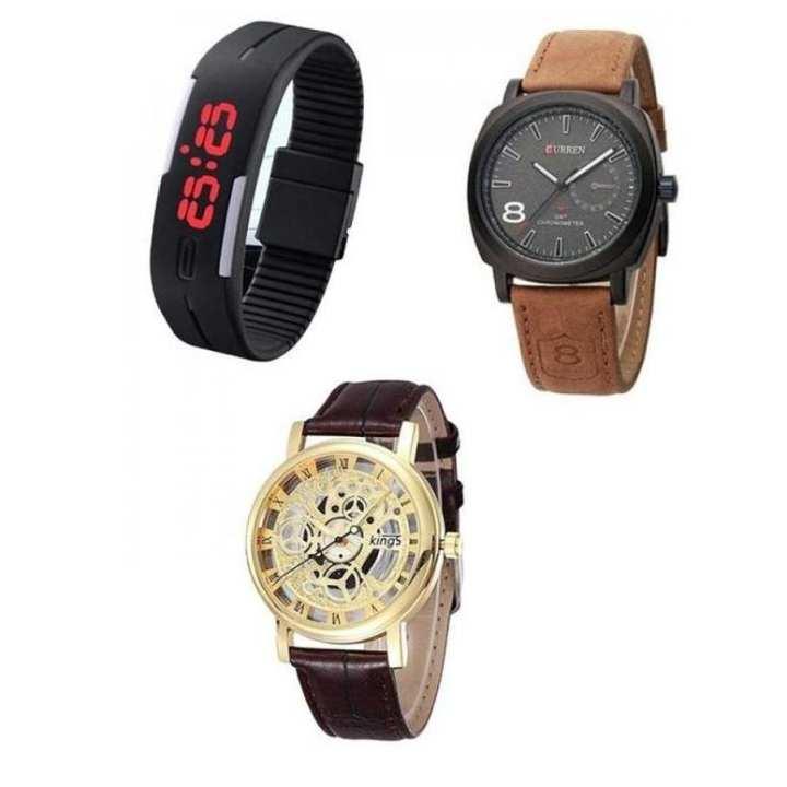 Pack of 3 Curren, Skeleton and Led Bracelet Watches for Men