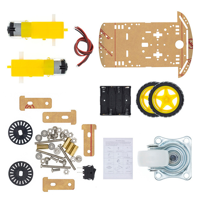 FULL SIZE Smart Robot Car 2WD Motor Chassis /Tracing Car Box Kit Speed Encoder With Battery Box For Arduino Diy Kit
