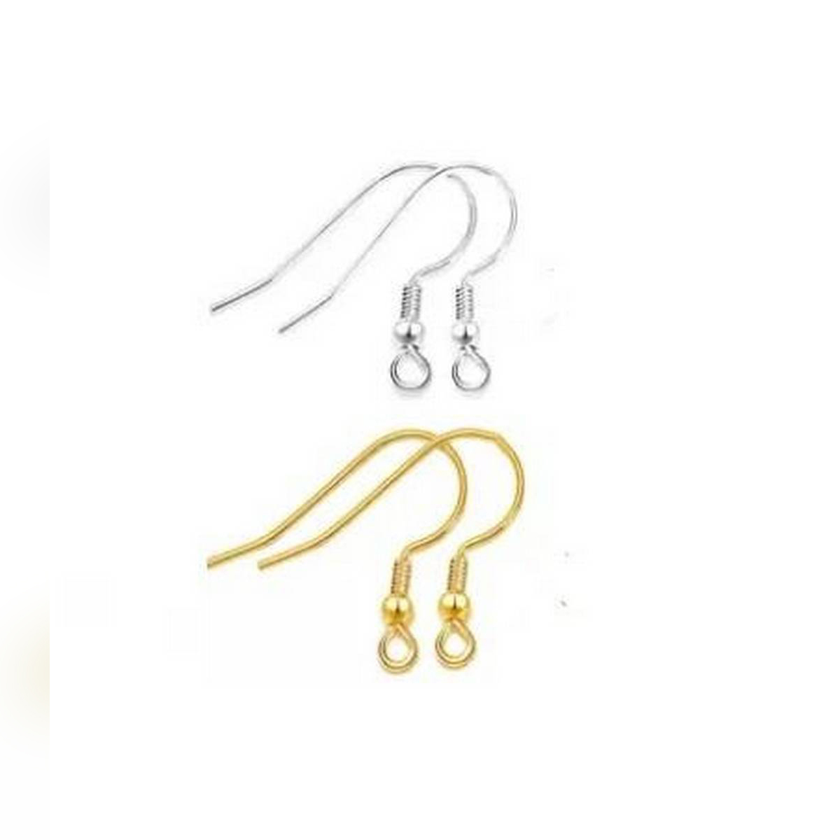 100 Pairs Of Golden & Silver Earrings Hooks Base For Jewellery Making