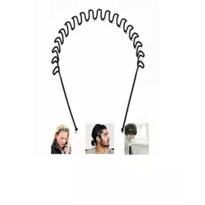 Black Color Hair Band For Man For Daily Use Fashionable Black Metal Waved Style Alice Sports Hairband Headband Headwear Accessory Spring Wavy Hoop For Men Women (Zig Zag)
