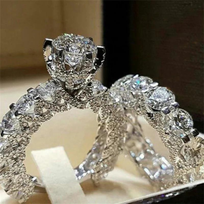 Crystal ring set rhinestone pair ring