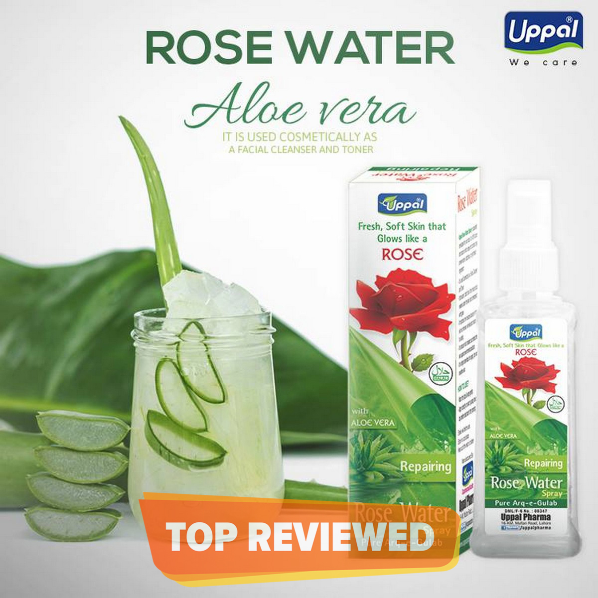 Rose Water Spray with Aloe Vera - Facial Spray cleanser and toner -  Soothes & repair skin, reduces acne, stretch marks and to make your skin healthy