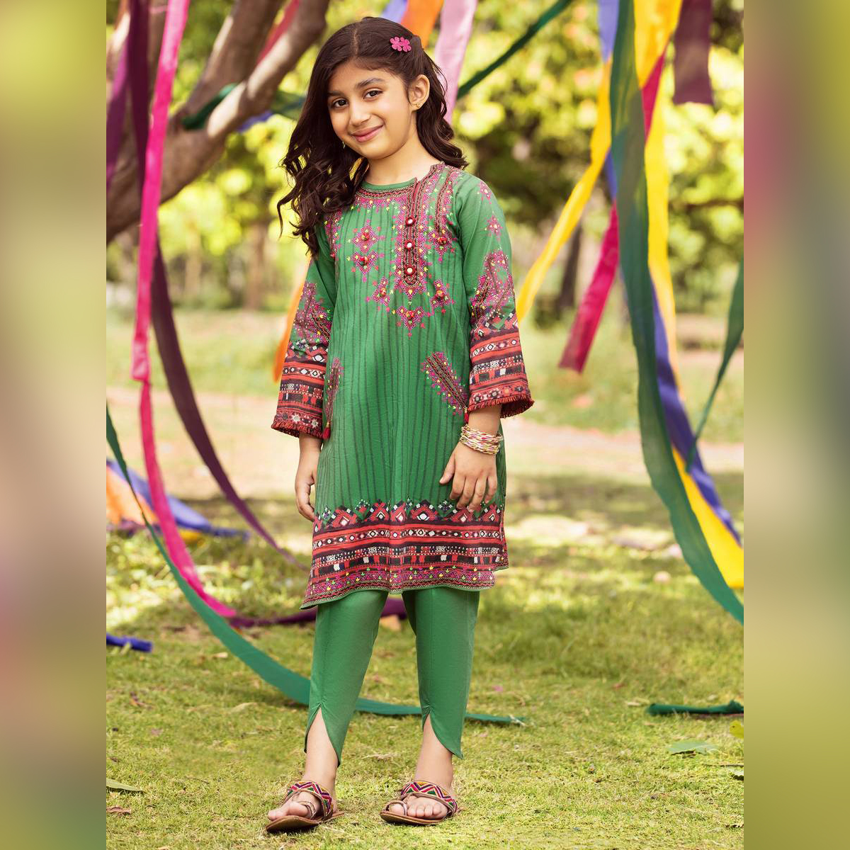LimeLight Stitched Printed Lawn Suit For Girls F2288SU-111-GRN