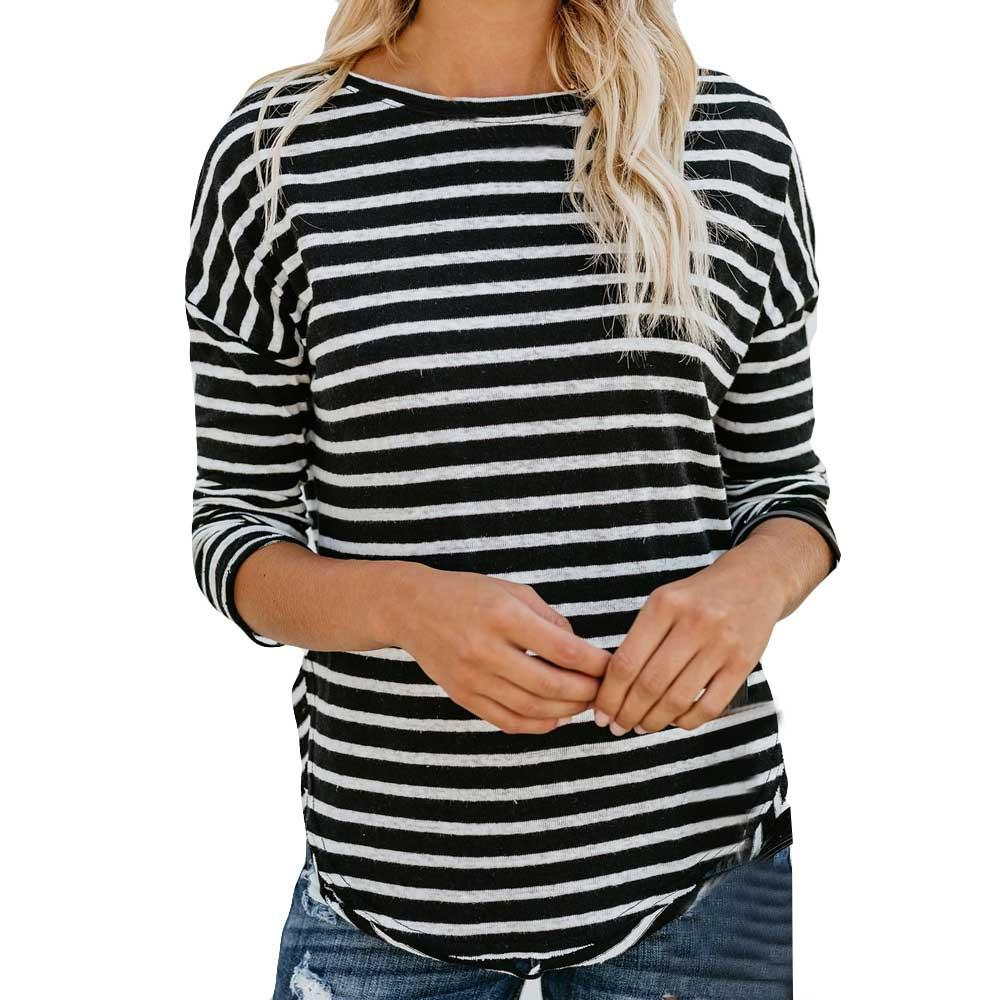 Women Stripe  Print  O-Neck Casual Top T Shirt Ladies  Long Sleeve Blouse FR289
