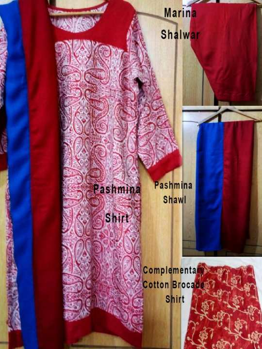 Pack of 4 Winters - Red Full Kashmiri Embroidery Pashmina Shirt Shawl Marina Shalwar Stitched with Complementary Shirt on Daraz.pk