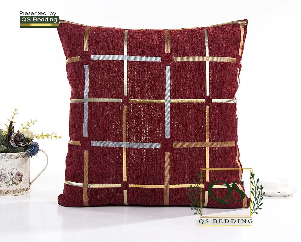 QS Pack of 2 European style Chenille Plaid Square decorative  Cushion Cover  Home Sofa car Cushion Square Uniface Design- QS Bedding