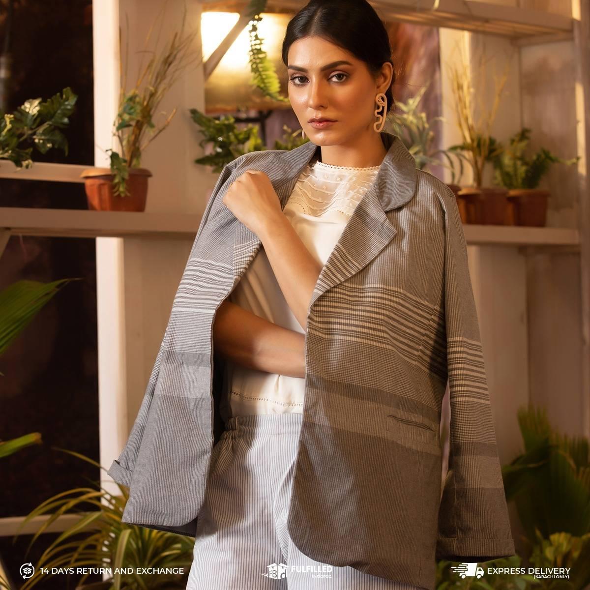 Maahru Grey Jacket -Women's Cotton Jacket
