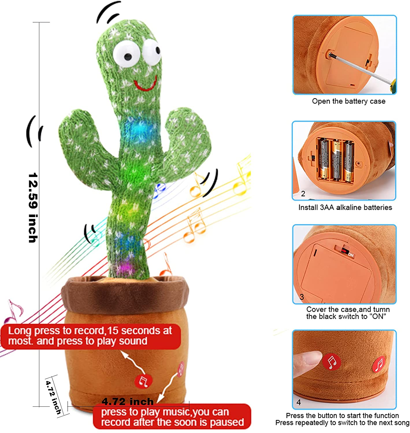 Dancing Cactus with RECORDING, Plush Funny Electronic Shaking Cactus Singing Dancing Cactus Twisting Cactus Cute Plush Toy Education Toy Plush Toy with upto 10 Songs for Home Decoration and Children Playing Birthday Gift Kids Toy