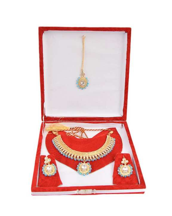 Sterling silver Gold platted feerozi mooti and white stone jewellery set PS-104