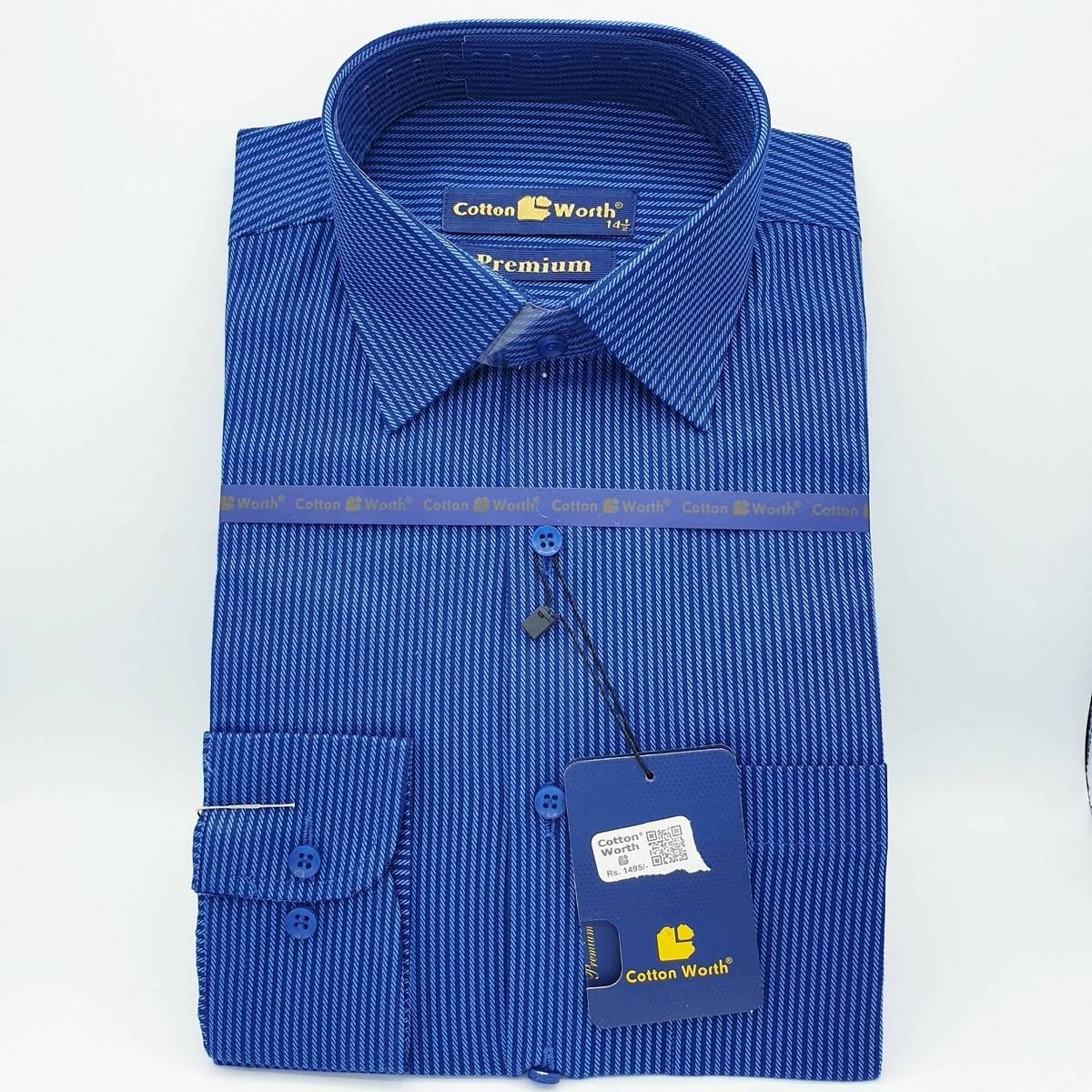 Bright Blue Lining High Quality Cotton Dress Shirt For Men