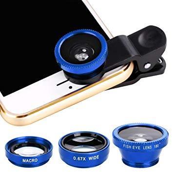 9fa411e5f2 3 in 1 Blue Selfie Camera Lens Mobile Phone Clip Lenses Fish Eye Wide Angle  Macro
