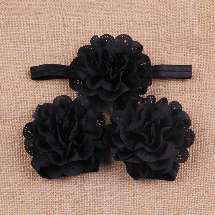 Baby barefoot sandals and headbands set bow Flowers