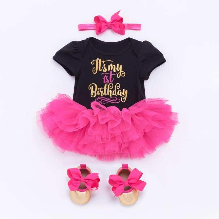 BABY GIRL FIRST BIRTHDAY SET ROMPER+SKIRT+HEADBAND+BOOTIES (12 MONTHS)