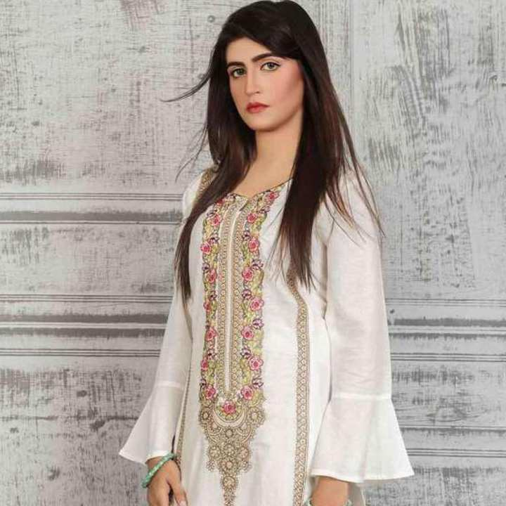 Narmeen Milky White Embroidered Kurti Lace Up Kurti Cotton Casual Wear