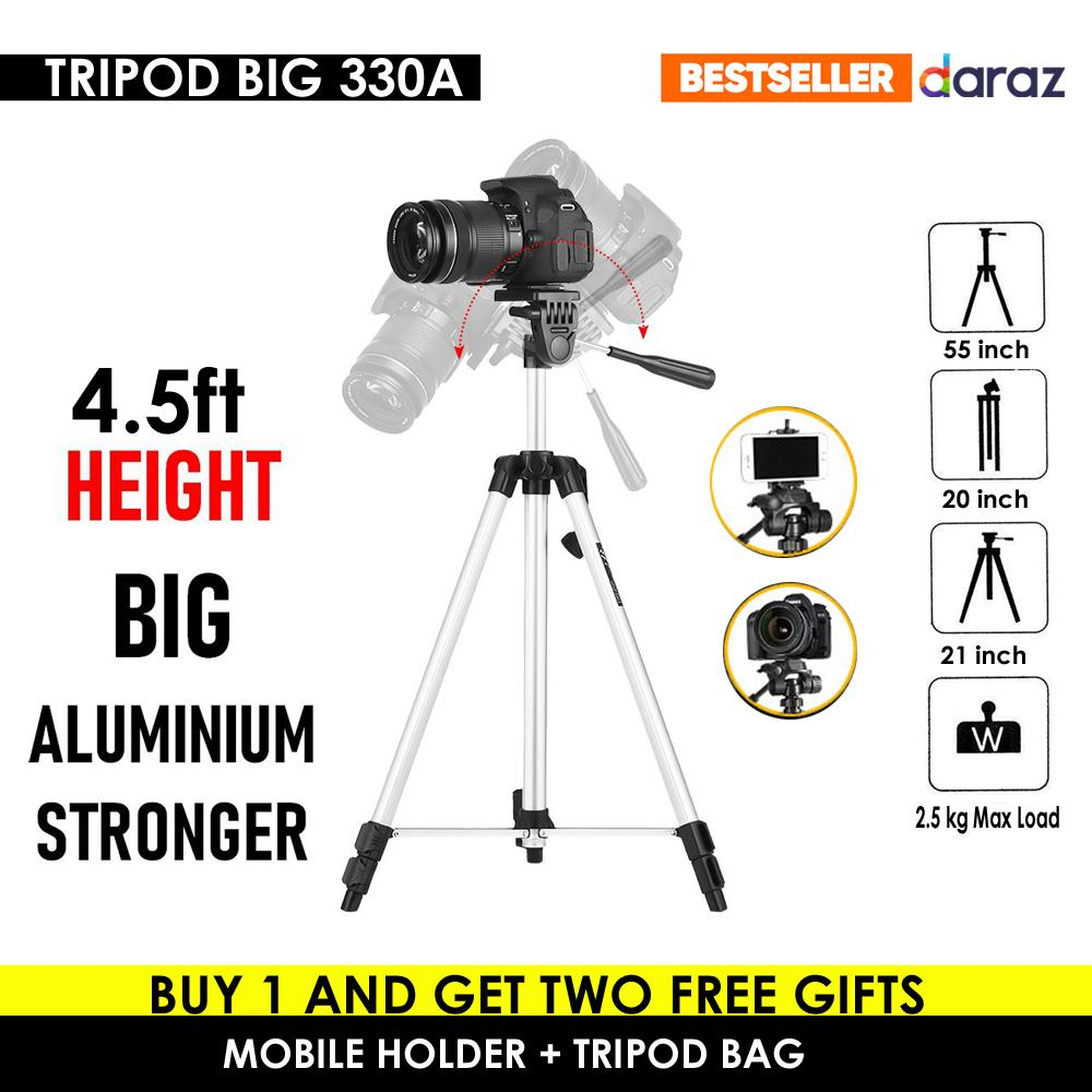 330A Tripod Big Weifeng For Mobile Digital Camera and DSLR 4.5 FT Height - Silver