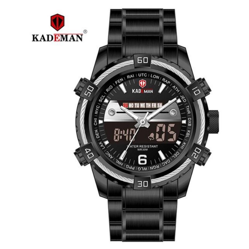 KADEMAN Luxury Dual Display Waterproof Stainless Steel Wristwatch - K6173