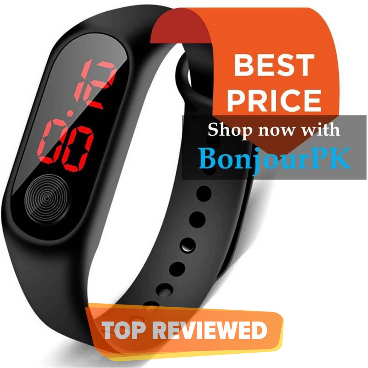 1 x Black Luxury Men Women Sport Casual M3 Led Bracelet Digital Watch Band  Fashion Watch Bracelet For Boys and Girls  Smart Bracelet Led Wrist Watch  Wristband Fitness watch