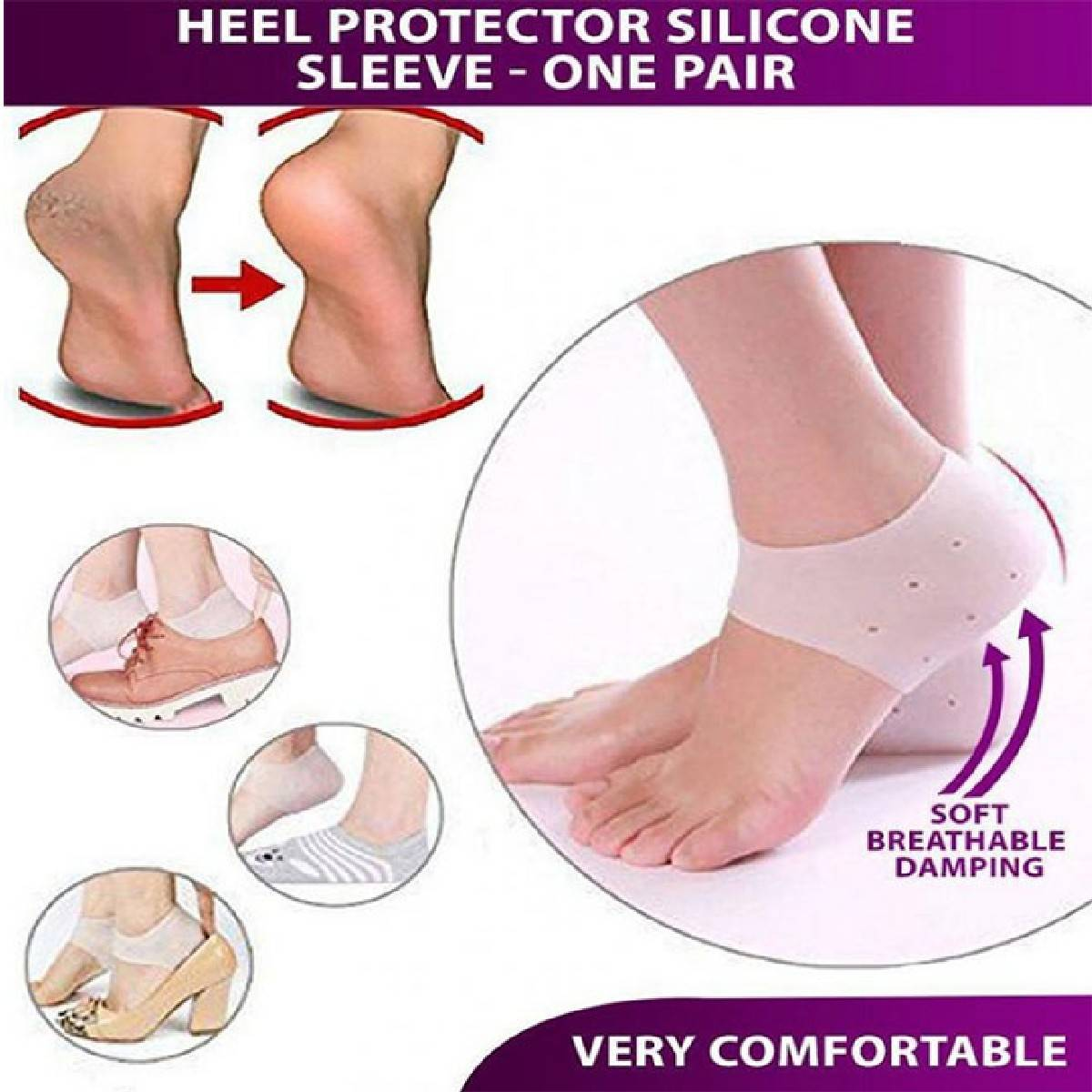 Anti Crack Half Cover Sock Silicone Gel Heel Pad Socks for Pain Relief and anti crack