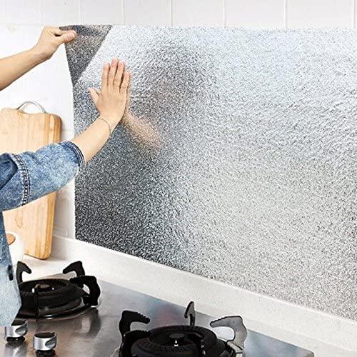 High Quality Aluminium Foil Aluminium Foil Sticker Aluminium Foil Sheet Kitchen Waterproof Self-Adhesive Anti-Mold and Heat Resistant Oil Proof Aluminium Foil Paper Sticker Roll for Kitchen Wall, Drawers, Shelves and Furniture (Silver)