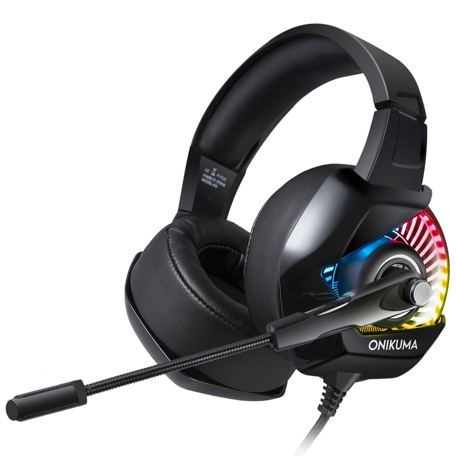 f08faa58442 Onikuma K6 Heavy Bass Gaming Headset with RGB Light, 3.5mm Wired Over Ear  Noise