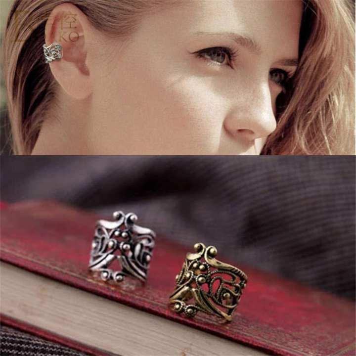 1 pc Ear Cuff Wrap Clip Earrings Sterling Silver Antique Clip Earrings for Women, Girls Fashion