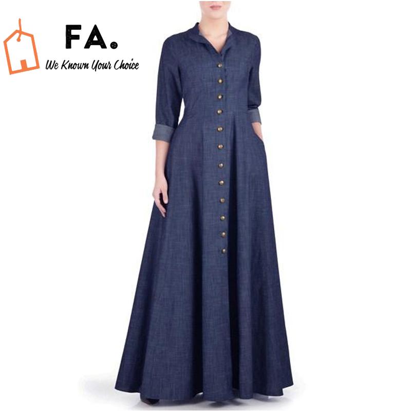 Blue Summer Maxi Style Denim Abaya - Blue Denim Jeans Everyday Abaya - New Design Trending Abaya - Denim Turkish Coat - Full Front Open Denim Coat Jilbab,