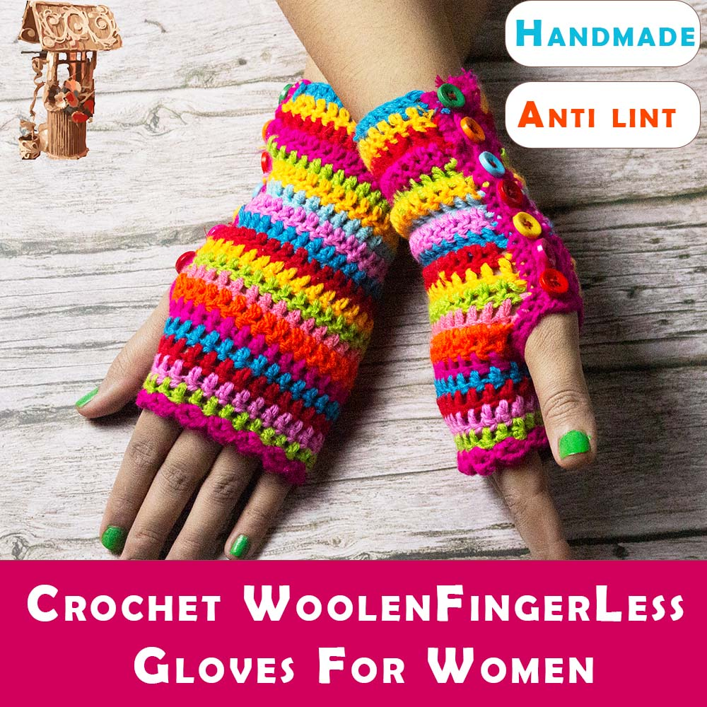 Fingerless Woolen Mittens Winter Gloves for Women - Candy Themed Multi Color - Jute and Craft House