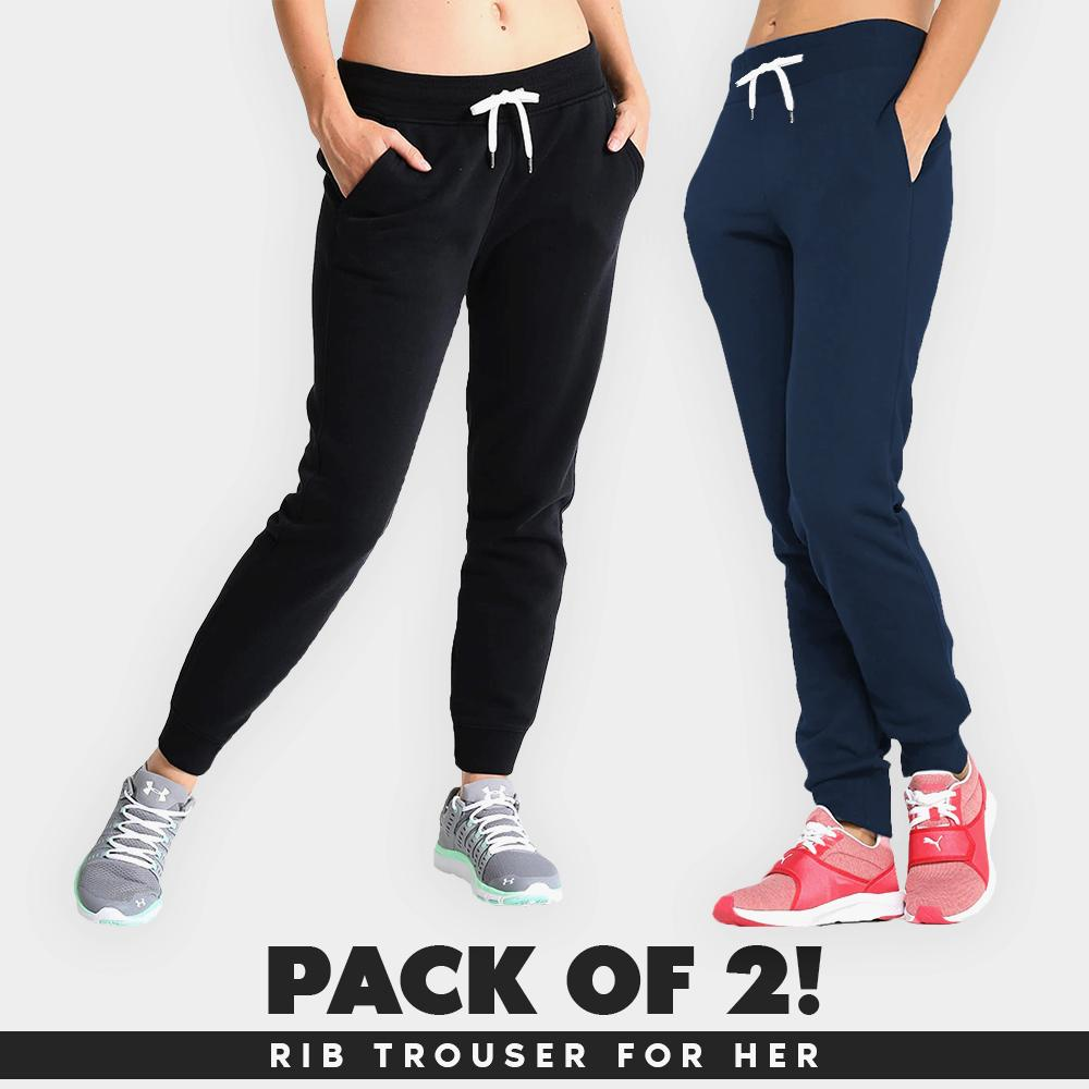 26b6a9362a05 Pack Of 2 French Rib Trouser Sweatpants For Her