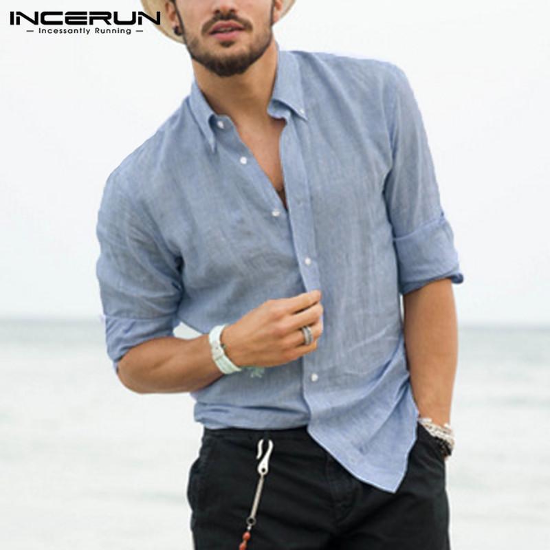 INCERUN Mens Retro Linen Summer Beach Party Shirt Loose Casual Collar Top Shirts Holiday