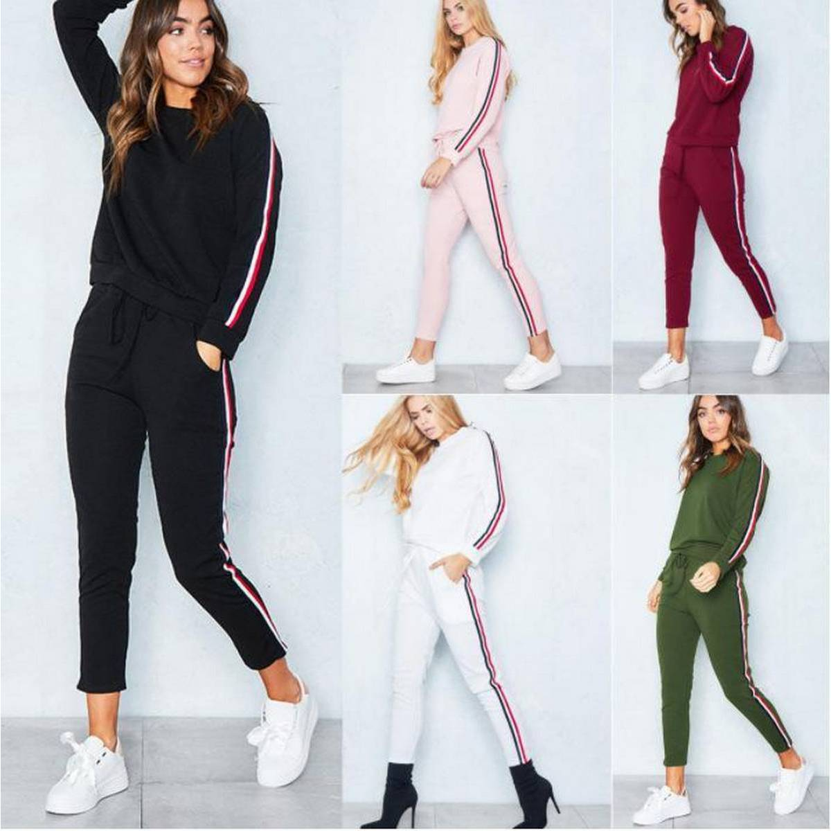 New fashion high quality women dress,jumpsuit,Top and pants,striped tracksuit,Female Autumn Track Suit Tops Females Ankle-Length Pants Women's Casual Sweatshirt(Special tik tok dress))