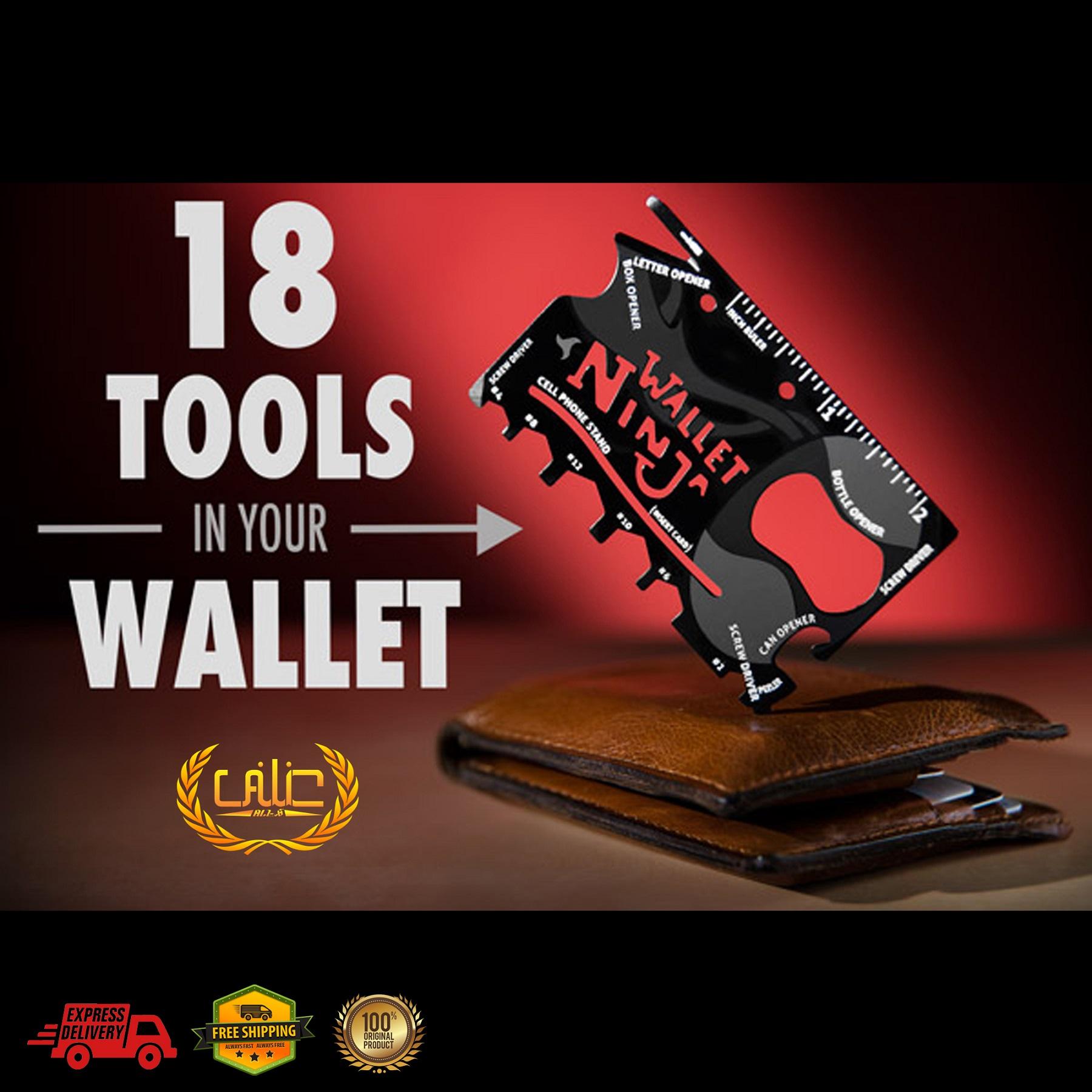 Wallet Ninja 18 in 1 Multi Tool card - Black - AA101