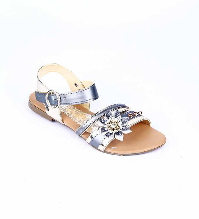 2bf2195c00897 Maya Traders Metallic Grey Synthetic Leather Glittery Fancy Strappy Flat  Sandals for Women - QQ7