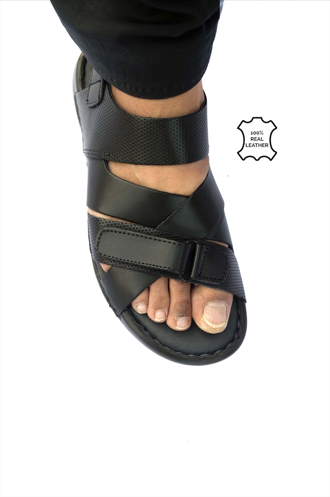 100% Pure Leather Sandal For Men - Color Black