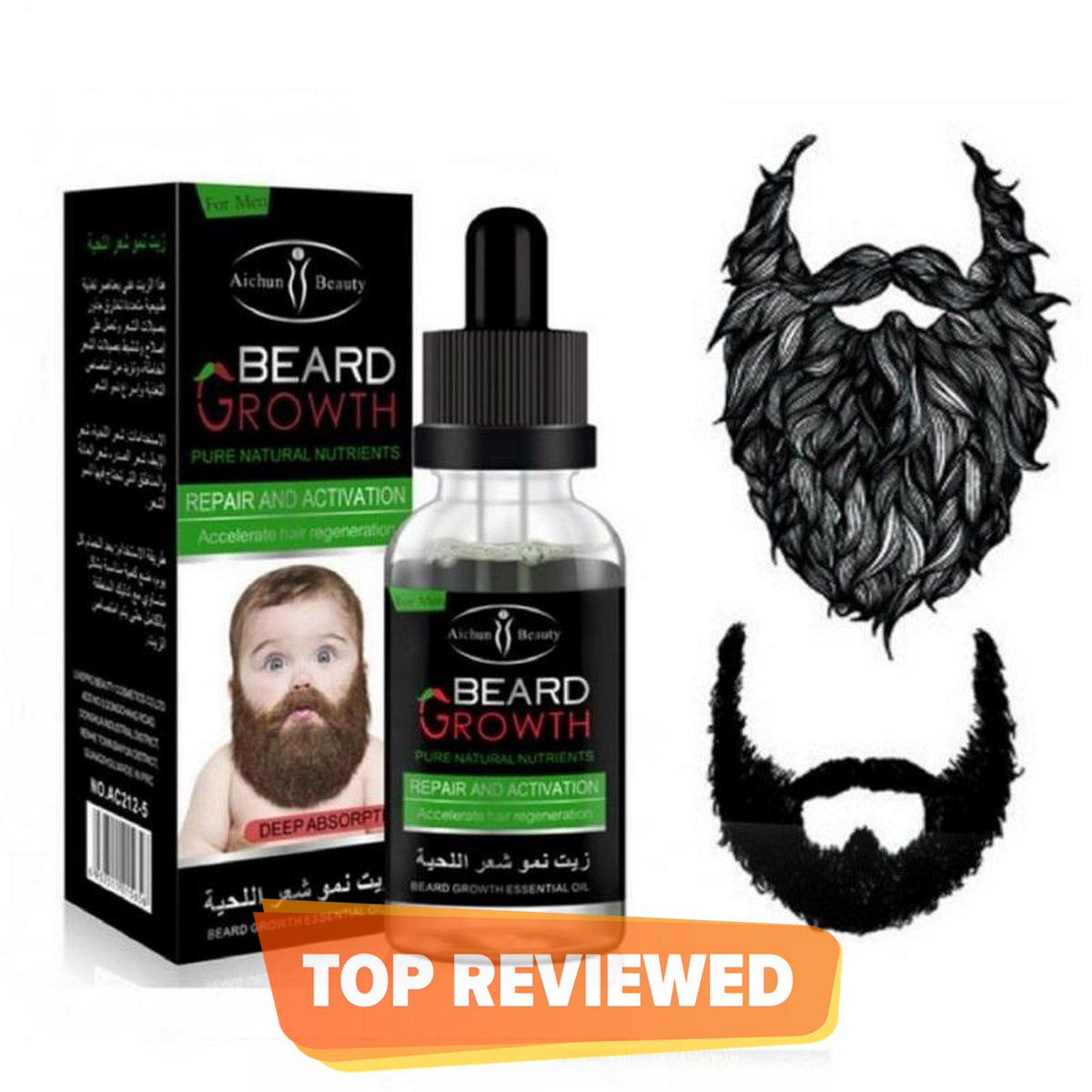 Natural Beard Growth Oil - 100% original natural organic growth for beard & mustache