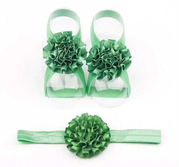 Foot Flower Barefoot Sandals+Headband for cute babies