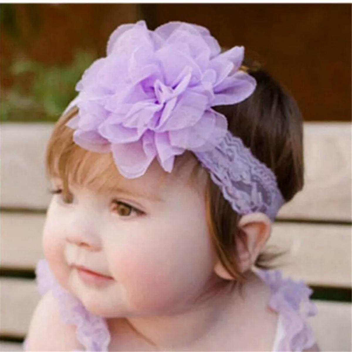 Photo Probs 1pc Kids Girl Chiffon Flower Hair Accessories Lace Wide  Chiffon Flowers Headbands