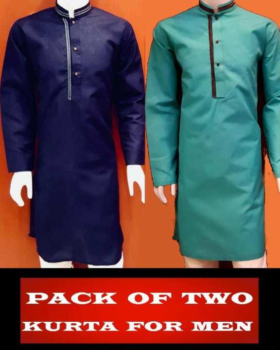 Pack of 2 - Mix Cotton Kurtas for Men