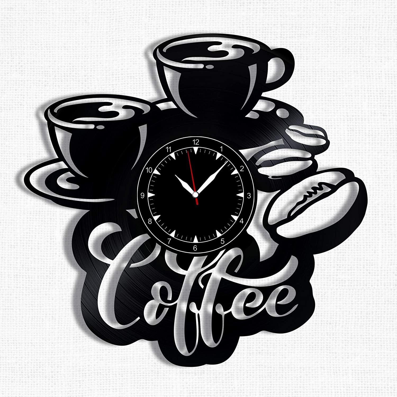 Coffee And Tea Time Clocks 3D Wooden Wall Clock- Best Kitchen Dining Room Clocks (104 Black)