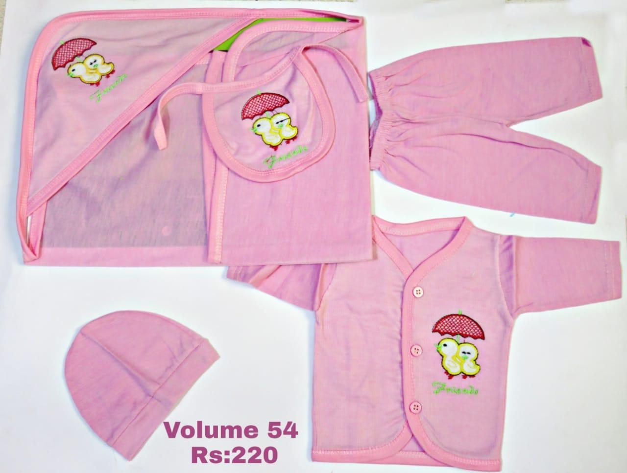 NEW BABY BORN 5PCS DRESS SET (PINK)