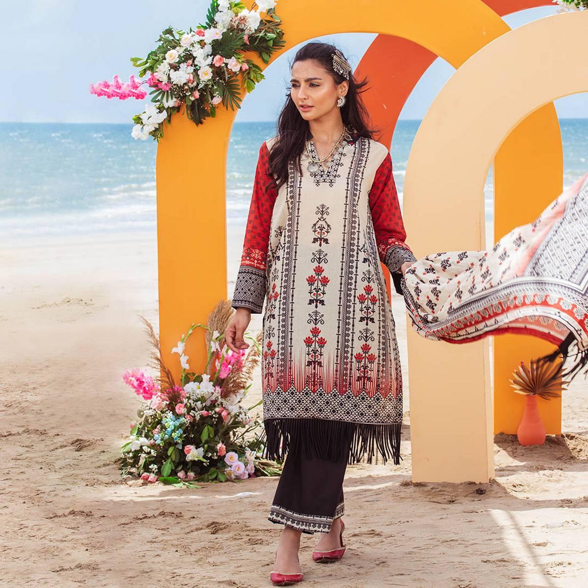 Maahru Tan Garnet - Women's Unstitched 3PC Summer Printed Lawn with Dupatta