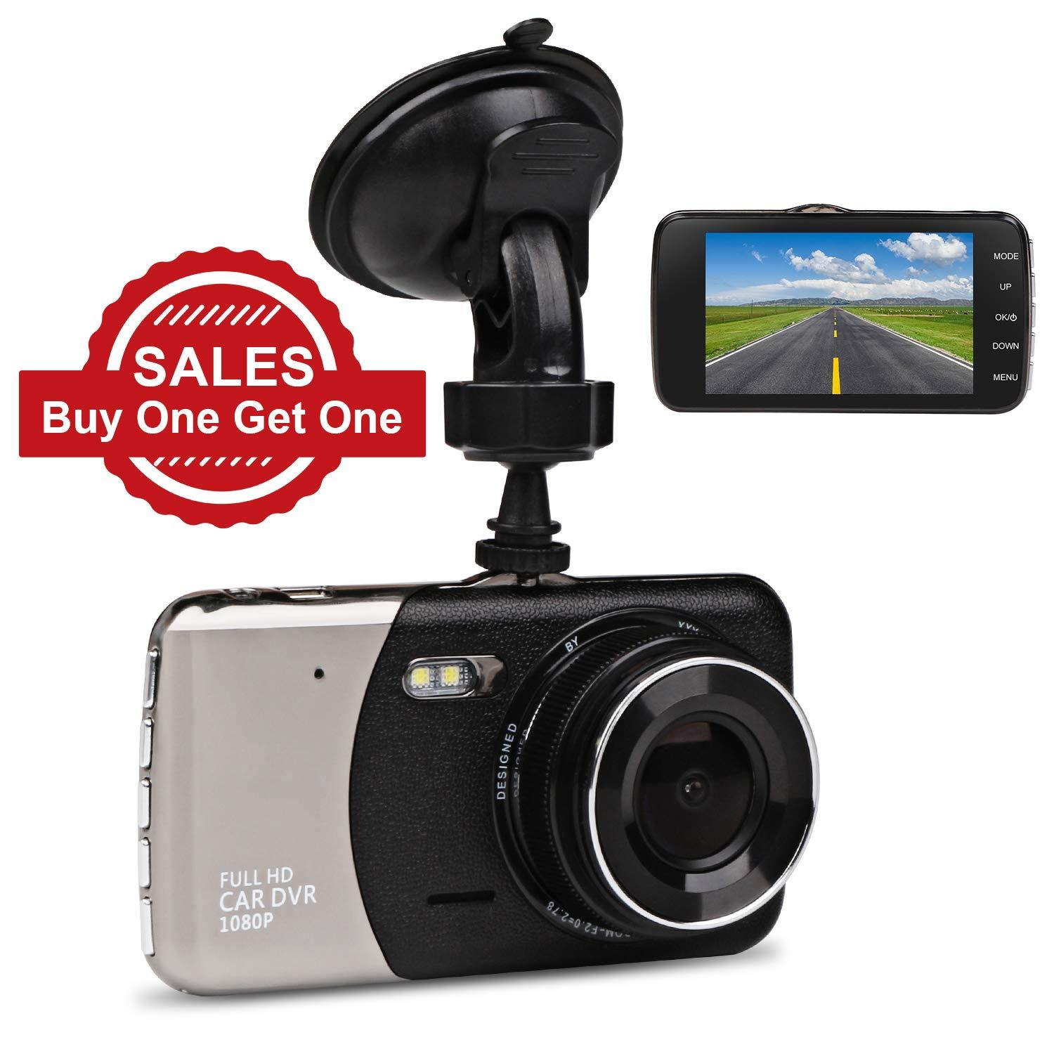 JC Beauty Digital Mini Car Dashboard Camera DVR - New Upgrade Version -  170° Wide Angle Front and Rear Dual Lens - 1080P Full HD - For Video Loop