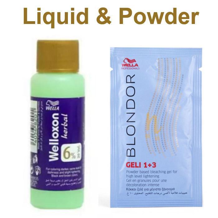 Wella Welloxon Herbal 60 ML With Blondor Geli Bleaching Powder 30 Grams
